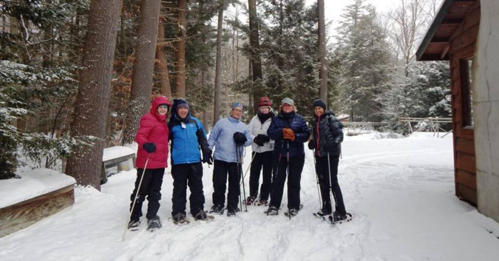 group of snowshoers together