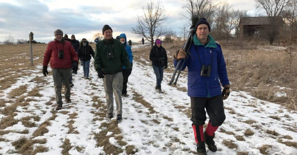 people on a winter birding trip