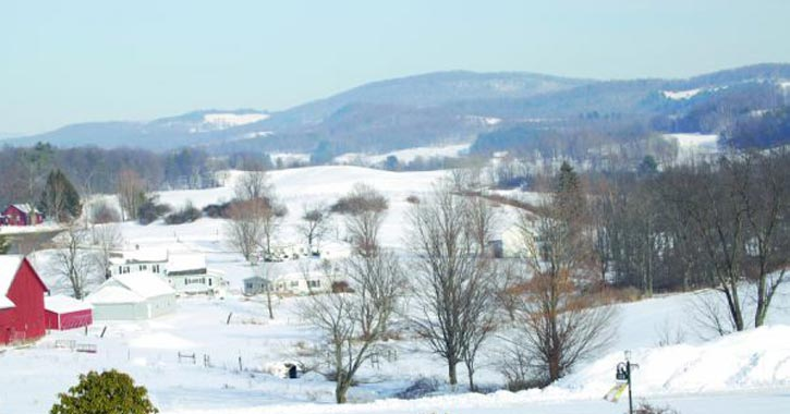 Farmlands of Washington County covered in snow