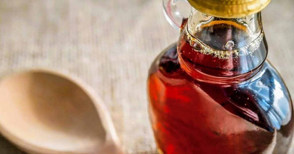 Close up of a maple syrup jar