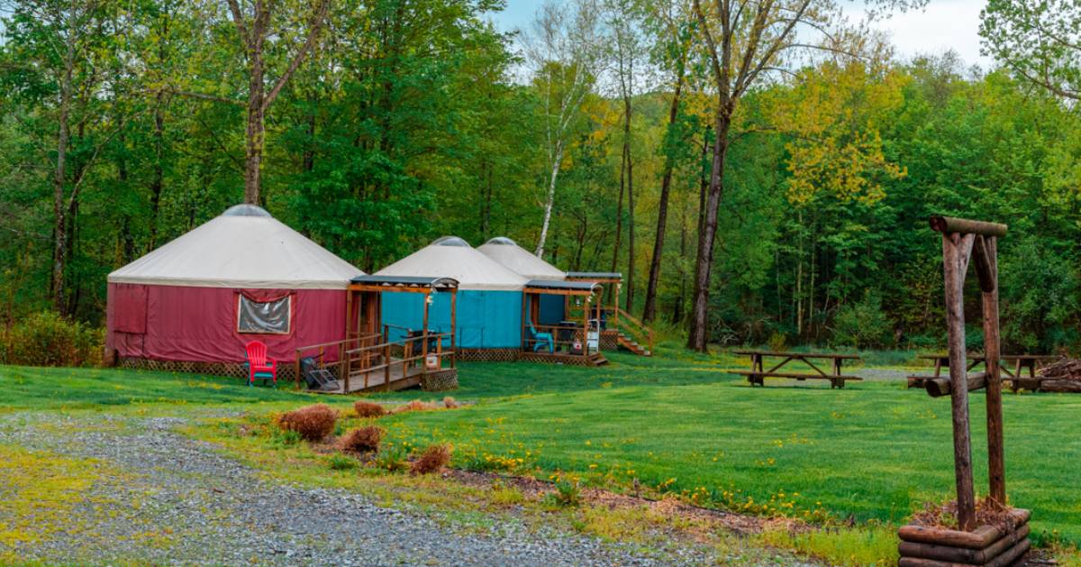 colorful luxury camping yurts