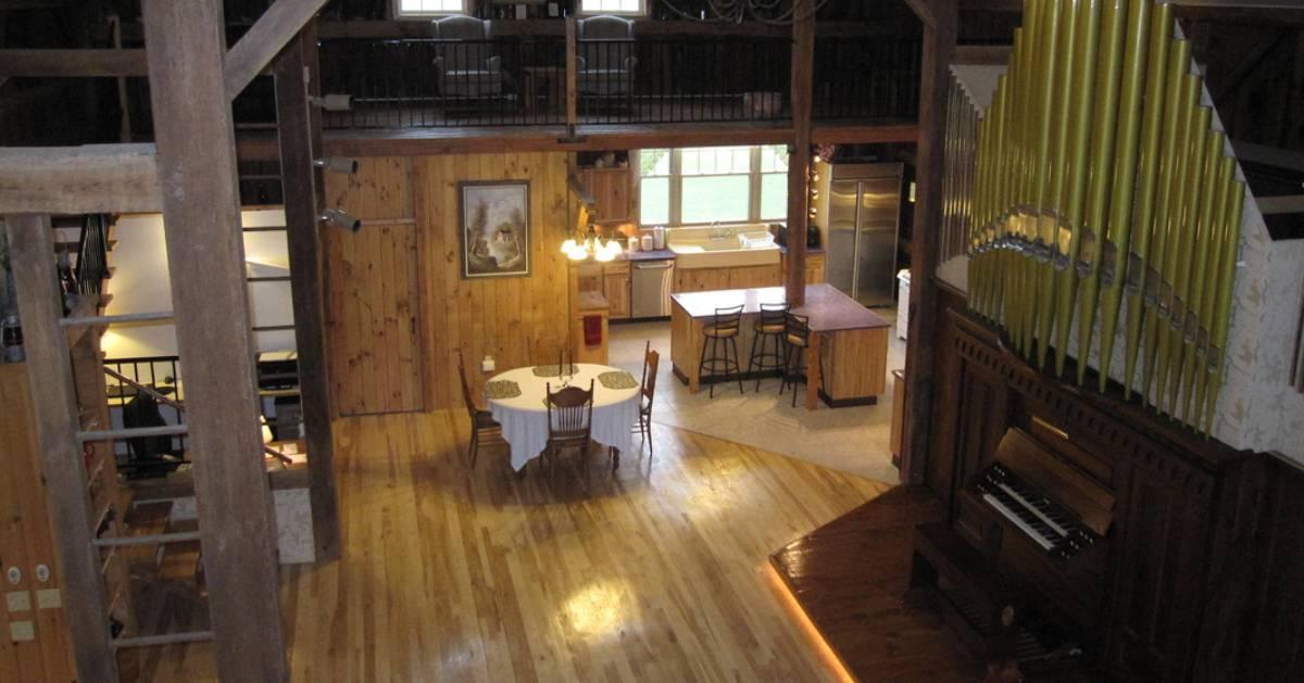 inside a rustic open living area
